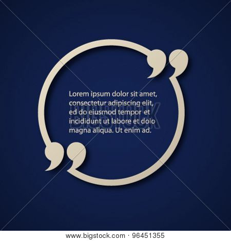 vector blank paper quotation mark circle frame