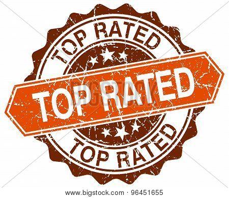 Top Rated Orange Round Grunge Stamp On White