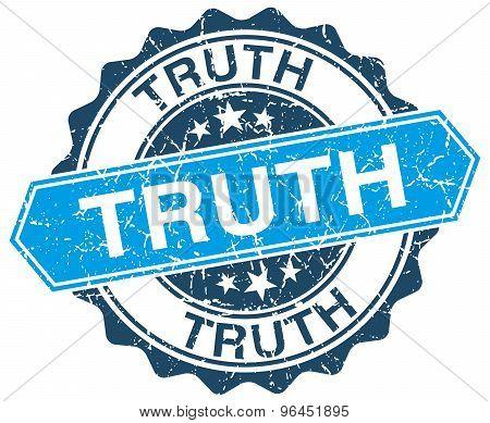 Truth Blue Round Grunge Stamp On White