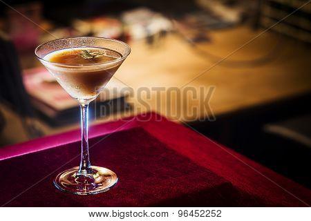 Chocolate And Cream Martini In Bar At Night