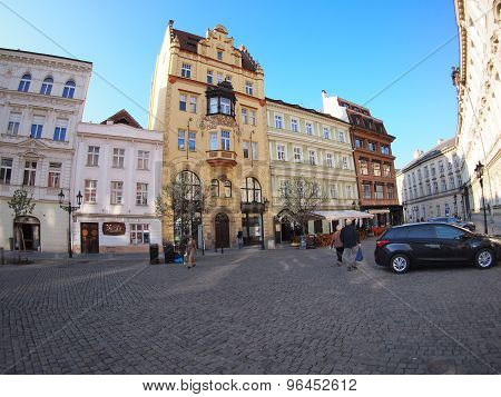 Prague, Czech Republic - April 22, 2015: Citizens And Tourists Walk The Streets Of Prague