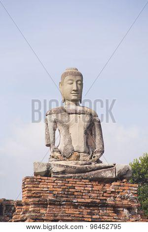 Old Buddha Statue At Ayutthaya Historical Park, Thailand