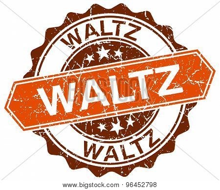 waltz orange round grunge stamp on white