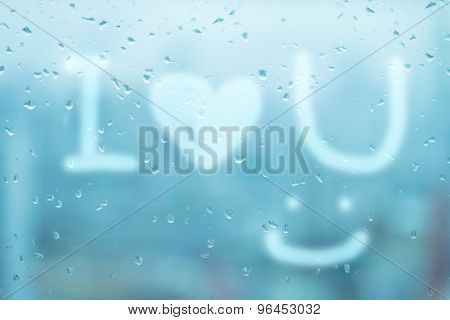 Mirror With Rain Drops With Word 'i Love You' And Smile