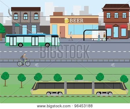 View on city streets with heavy traffic and shops. Vector illustration