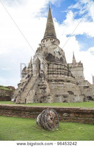 Old Chedi At Phra Sri Sanphet Temple, Ayutthaya, Thailand