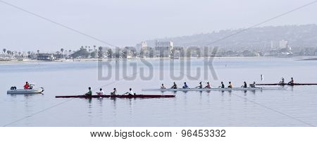 A Rowing Club Practices, Mission Bay, San Diego