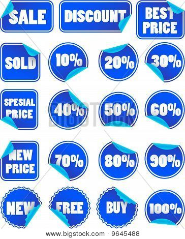 Set Of Blue Discount Price Labels