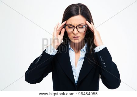 Businesswoman in glasses having headache isolated on a white background