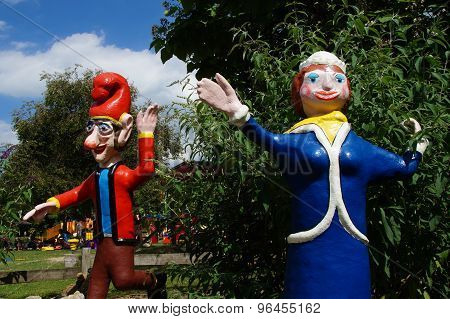 Punch and Judy Statues - Pulcinella - Traditional Misrule and Trickster figures