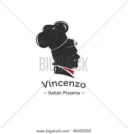 Vector retro logo for Italian restaurant.  Cook head silhouette logotype.