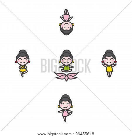 Vector funny cartoon girl mascot in five yoga poses