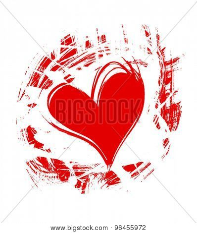 red heart, drawn by hand, isolated on white