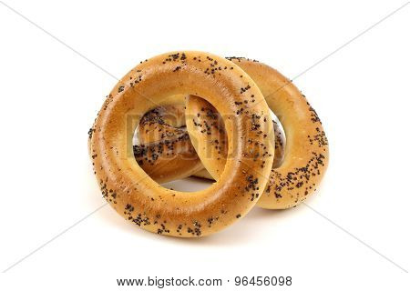 Several Bagels With Poppy Seeds