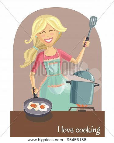Happy Woman Cooking Lunch