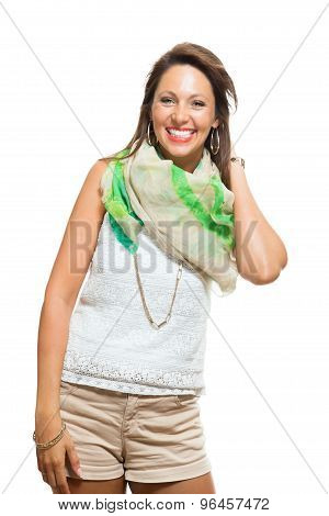 Stylish Young Woman In Trendy Shirt