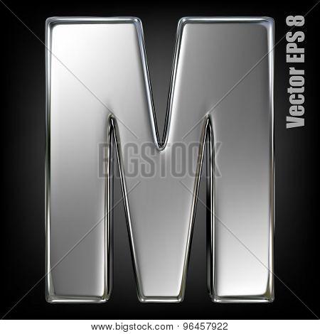 Metal alphabet vector symbol - M. Eps 8 using mesh.