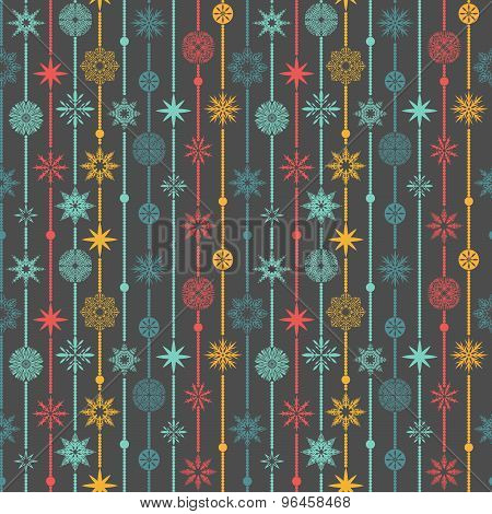 Seamless Vector Pattern: Christmas Garland On A Gray Background