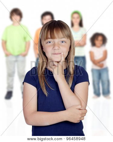 Doubtfully teenager girl with other children of background unfocused