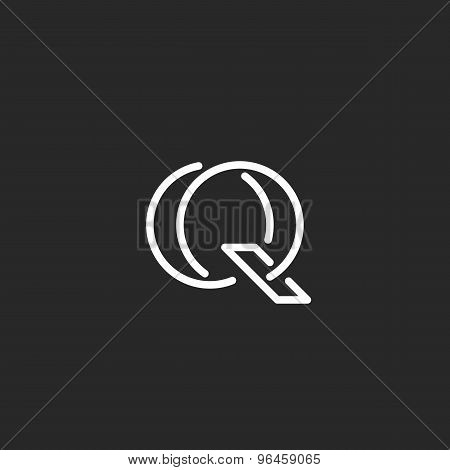 Letter Q Logo Monogram, Mockup Outline Emblem For Business Card