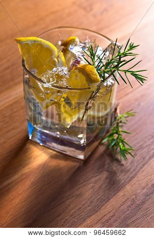 Alcoholic Drink With Lemon And Ice