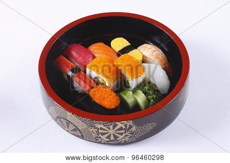Colorful Sushi set in Japanese dish