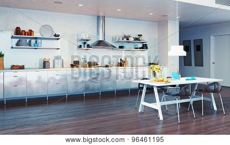 modern kitchen interior. 3d design concept