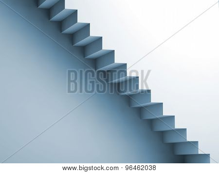 Light Blue Stairway On The Wall, 3D Interior Background