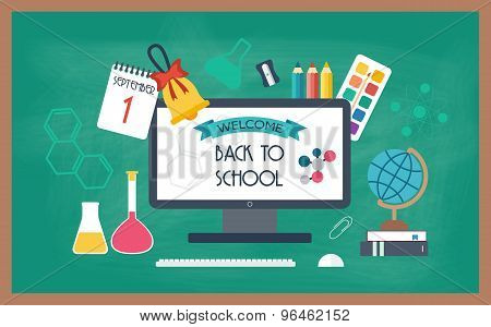 Banner, Background, Poster From The School And Education Icons. Back To School. Flat Design. Vector