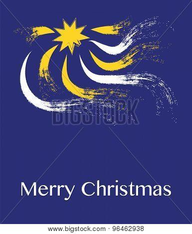 Star and rays with Christmas greeting