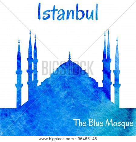 Watercolor Silhouette Of The Blue Mosque