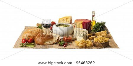 cheese, bread and soup on white background