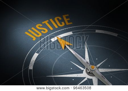 The word justice and compass against grey