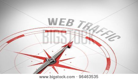 The word web traffic against compass