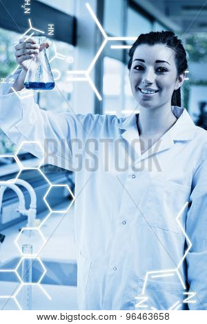 Science graphic against portrait of a science student holding an erlemeyer flask
