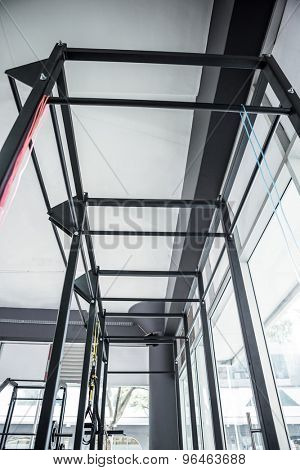 Low angle view of parallel bars in crossfit gym