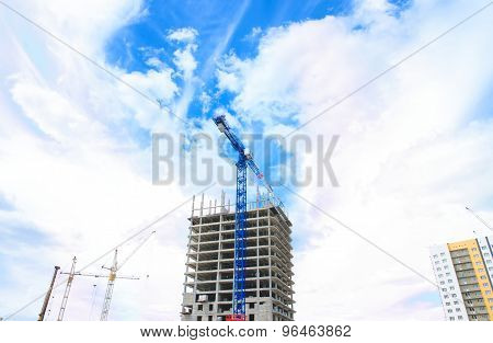 Heavy equipment and concrete building construction