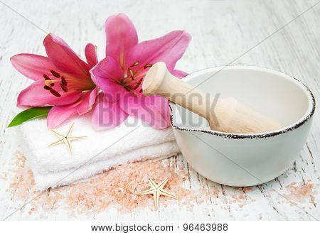 Pink Lily, Towels And Sea Salt