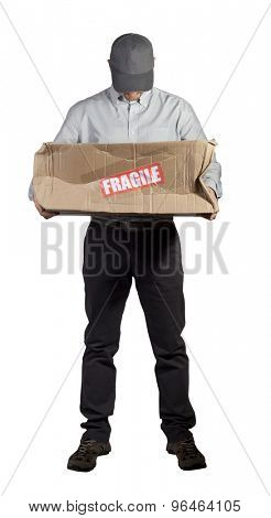 portrait of caucasian delivery man and damaged parcel