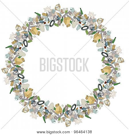 Round frame with various pieces of garbage isolated on white