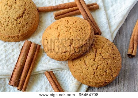 Oatmeal Cookies And Cinnamon Sticks