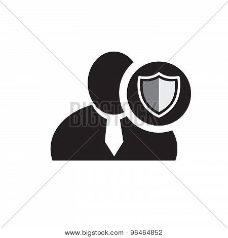 Black Man Silhouette Icon With Defend Symbol In An Information Circle, Flat Design Icon For Forums O