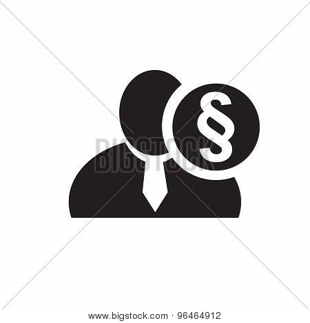 Black Man Silhouette Icon With Section Or Paragraph Sign In An Information Circle, Flat Design Icon