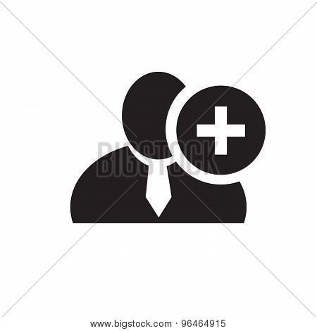 Black Man Silhouette Icon With Plus Sign In An Information Circle, Flat Design Icon For Forums Or We