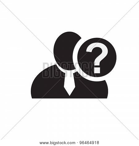 Black Man Silhouette Icon With Question Mark In An Information Circle, Flat Design Icon For Forums O