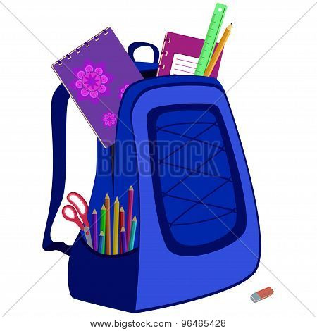 schoolbag with notebook, eraser, pencils, ruler, scissors
