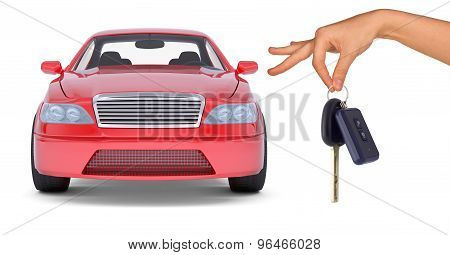 Hand holding keys and red car