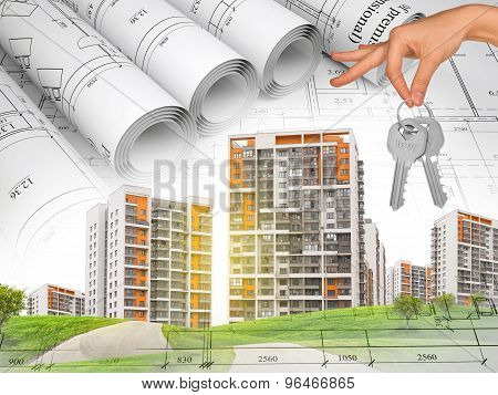 Cityscape and hand with keys
