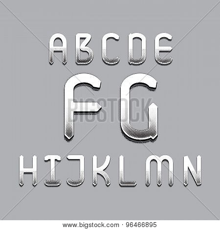 English Alphabet Set. From A To N