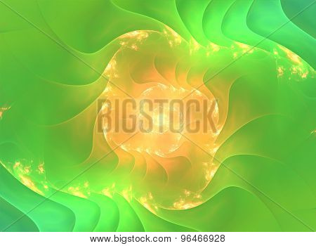 Yellow fractal spiral with light in the centre
